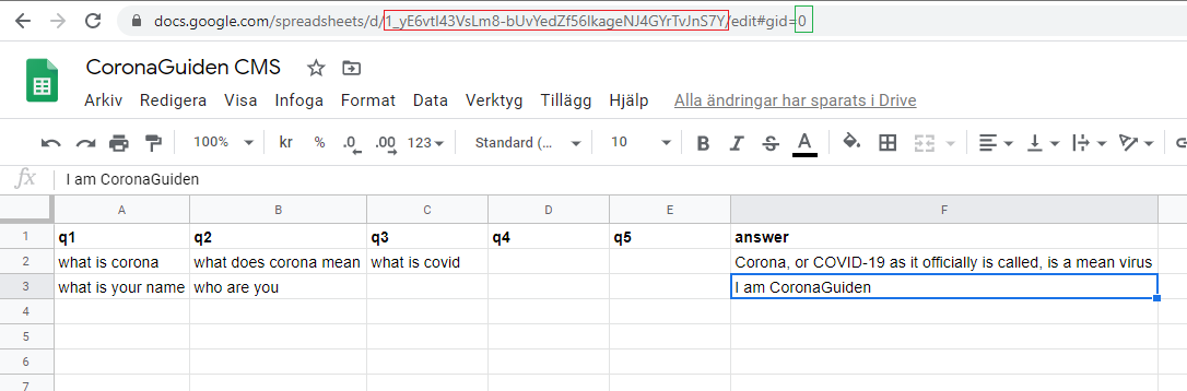 Google sheet setup